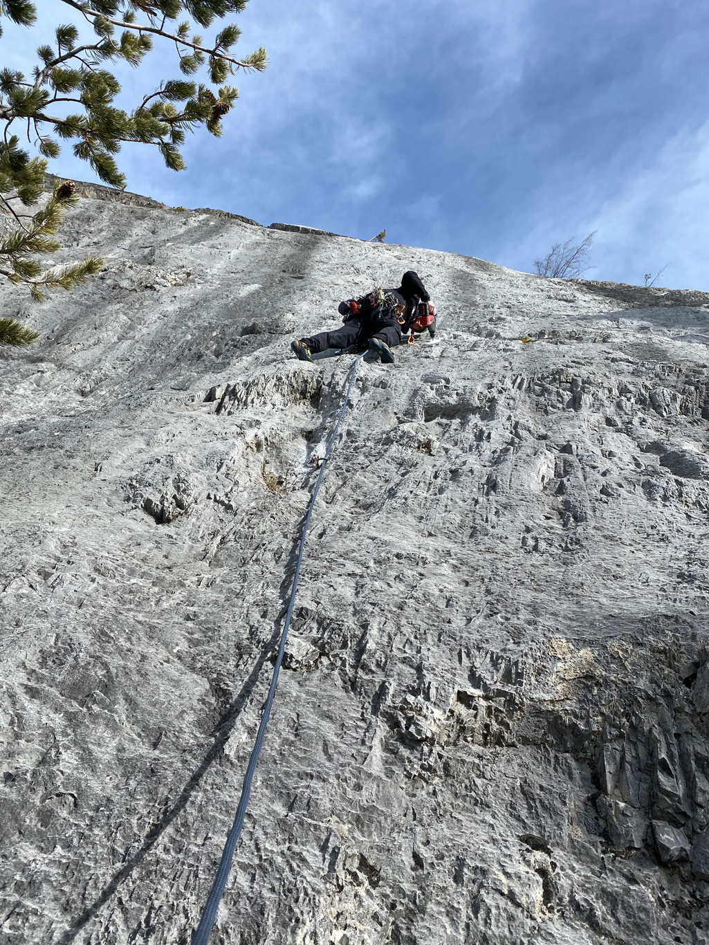 Andrew climbing pitch 1 of Dumbo